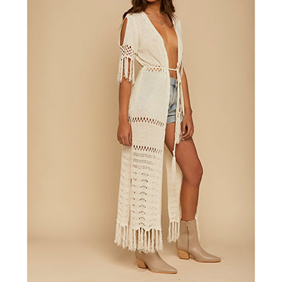 Women's Knitted Long Boho Kaftan Tassel Sweater Cover Up - Fashion-Beach.com