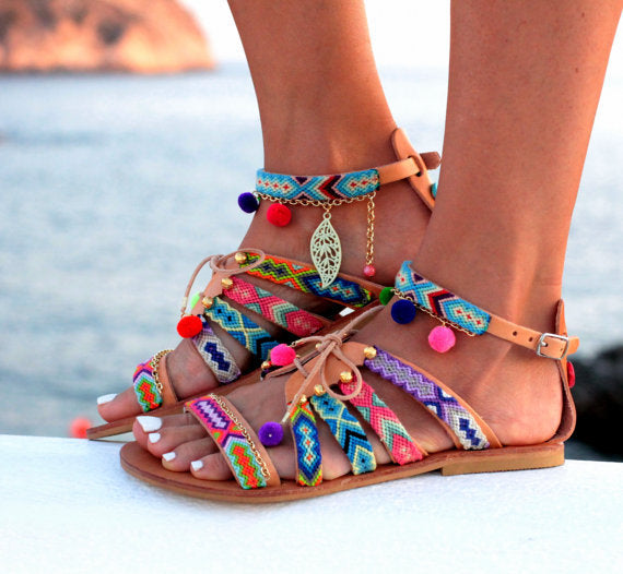 SALE Women's Beautiful Boho Chic Tribal Pompom Tassel Flat Sandals - Friendship Bracelet Braided Straps - Pompom Bali Resort Flat Open Toe Shoes - FREE Shipping - Fashion-Beach.com