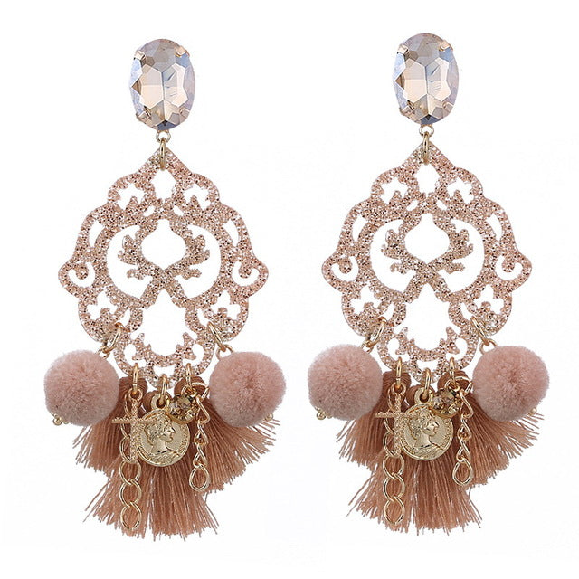Tan Beige Nude Long Tassel Charm Boho Rhinestone Earrings
