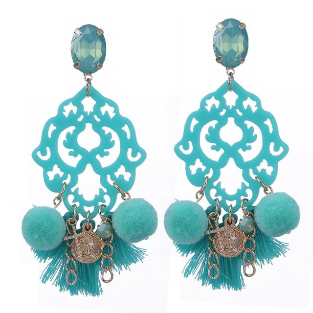Aqua Blue Turquoise Long Tassel Charm Boho Rhinestone Earrings