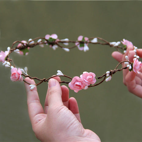 Women's Beautiful Boho Flower Wreath Hair Headband - Fashion-Beach.com