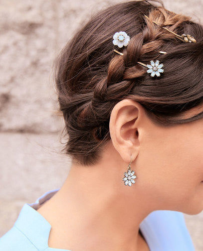 Women's Beautiful 3 pc Crystal Flower Hair Bobby Pins - Fashion-Beach.com