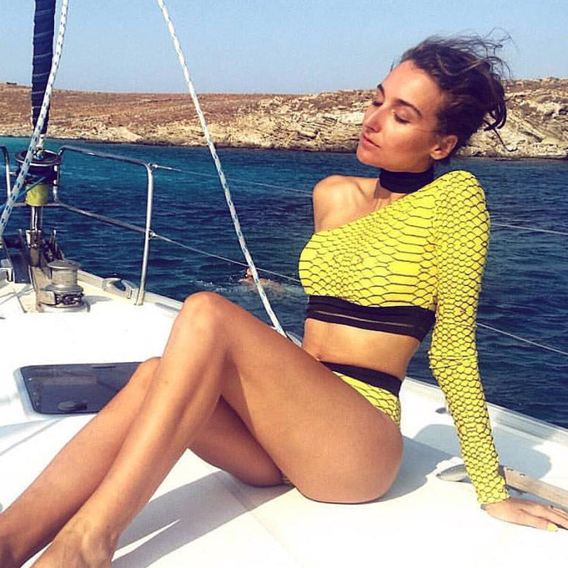 SALE Women's Sexy Two Piece High Waist Bikini Set Black & Yellow One Long Sleeve Swimsuit Top & Cheeky Bottoms - FREE Shipping - Fashion-Beach.com