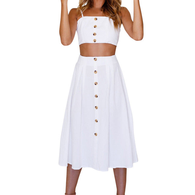 Hot Sale Summer Dress For Womens Two Pieces Holiday Bowknot Lace Up Beach Buttons Tops Set Vestidos Summer Beach Dress - Fashion-Beach.com