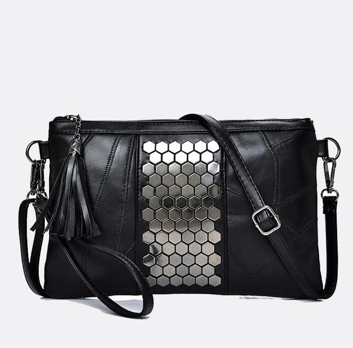 SALE Women's Black Studded Genuine Leather Clutch Purse Crossbody Shoulder Strap Silver Embellished Handbag - FREE Shipping - Fashion-Beach.com