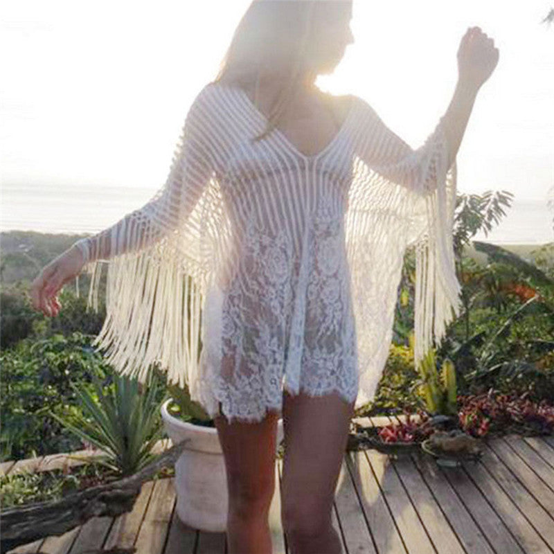 2018 Sexy Cotton Summer Pareo Beach Cover Up Sexy Swimwear Women Swimsuit Cover Up Kaftan Beach Dress Tunic White Beachwear - Fashion-Beach.com