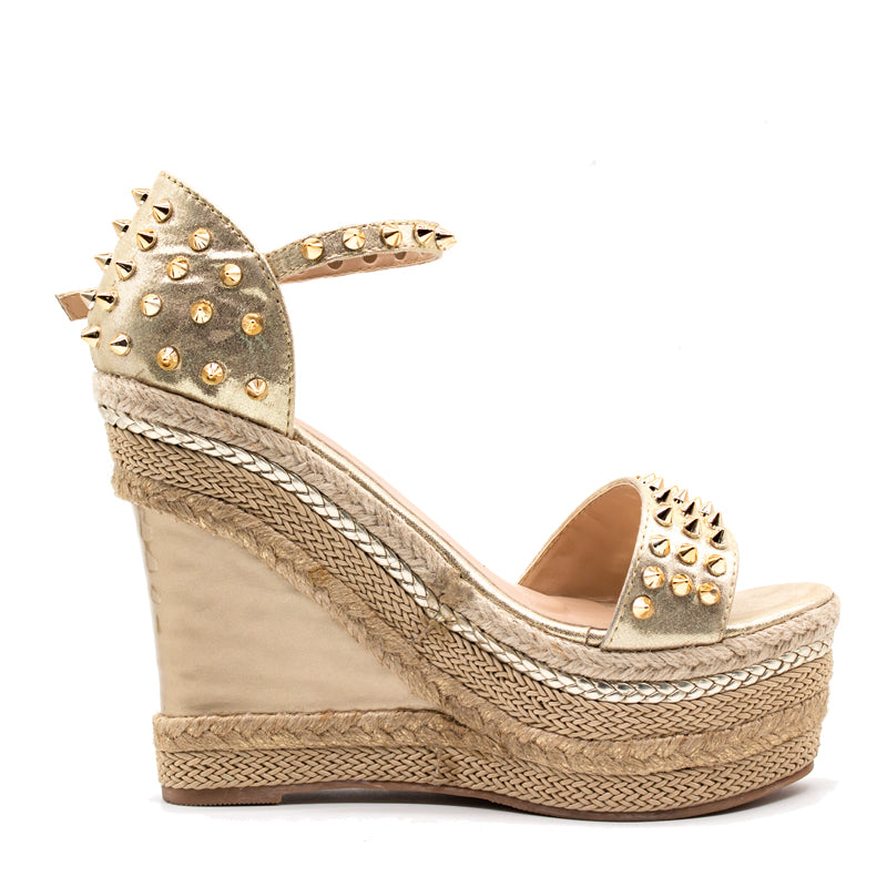 9336d177c21175 Women s Sexy Gold Studded Platform Espadrille Wedge Sandals - Fashion-Beach .com