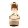 Women's Sexy Gold Studded Platform Espadrille Wedge Sandals - Fashion-Beach.com