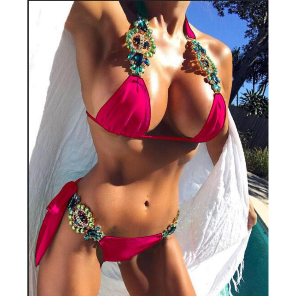 Women's Luxury Rhinestone Two Piece Bikini Set - Fashion-Beach.com