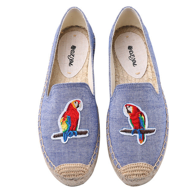Fun ISLAND PARROTS Women's Tropical Espadrille Summer Embroidered Loafers Hawaii Beach Slip On Flats Shoes - FREE Shipping - Fashion-Beach.com