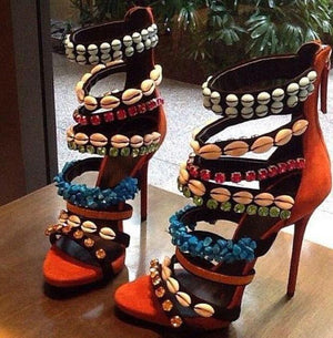 Women's Beautiful Tropical Seashell & Bead High Heel Sandals - Fashion-Beach.com