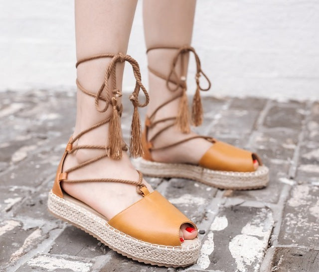 1118c33440 SALE Women's Beautiful Hemp Espadrille Peep Toe Gladiator Tassel Flat  Sandals. Ankle Wrap Platform Fringe