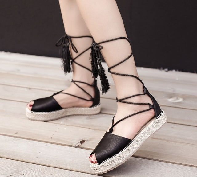 3fd4636f58 SALE Women's Beautiful Hemp Espadrille Peep Toe Boho Gladiator Tassel Flat  Sandals. Ankle Wrap Platform