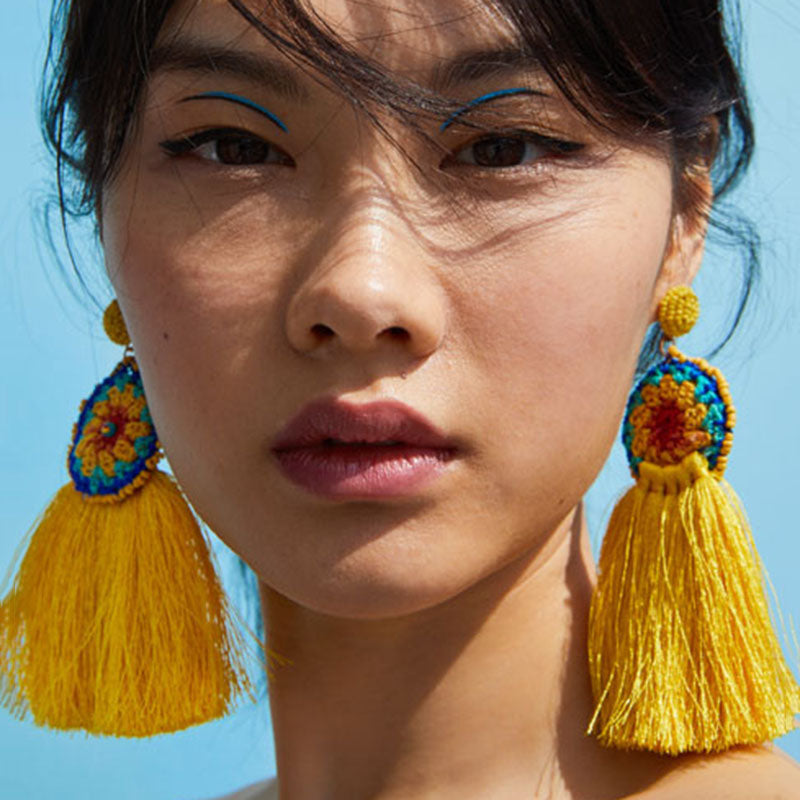 Women's Boho Tassel Fringe Flower Drop Earrings - Fashion-Beach.com