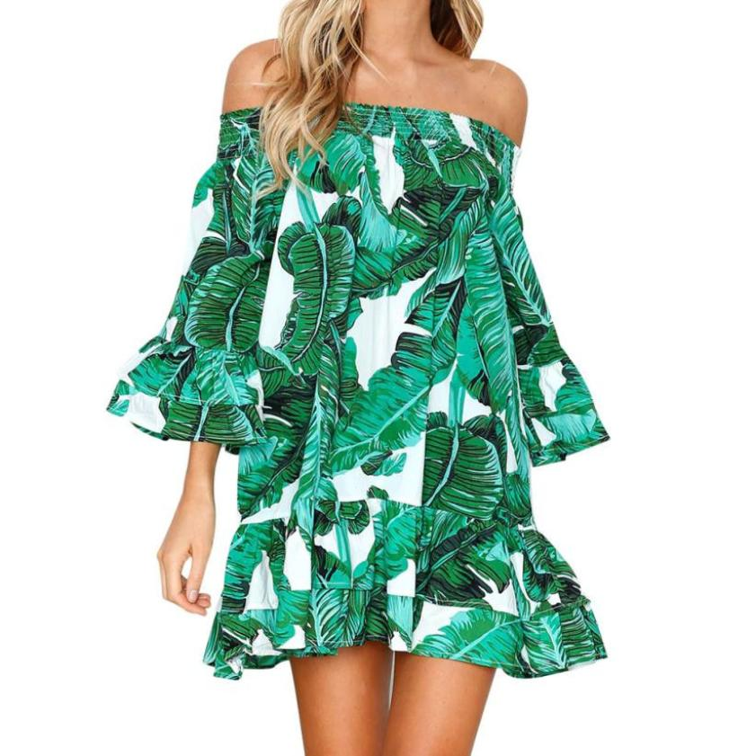 Women's Fun & Sexy Off The Shoulders Tropical Dress - Fashion-Beach.com