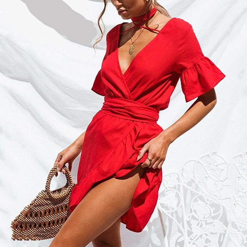 SALE Women's Boho Chic Red Mini Halter Dress - Bahamas Sexy v-neck Ruffled Short Fashion Summer Dress - FREE Shipping - Fashion-Beach.com