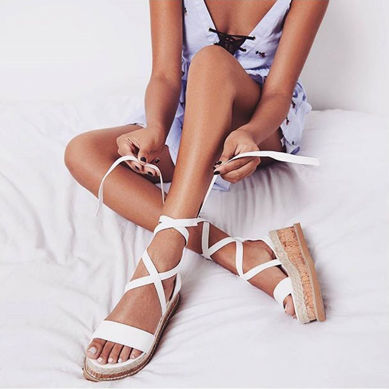Women's Espadrille Lace Up Ankle Gladiator Sandals - Fashion-Beach.com