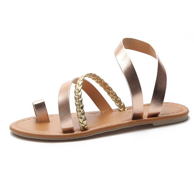 Women's Sexy Boho Metallic Strappy Summer Sandals