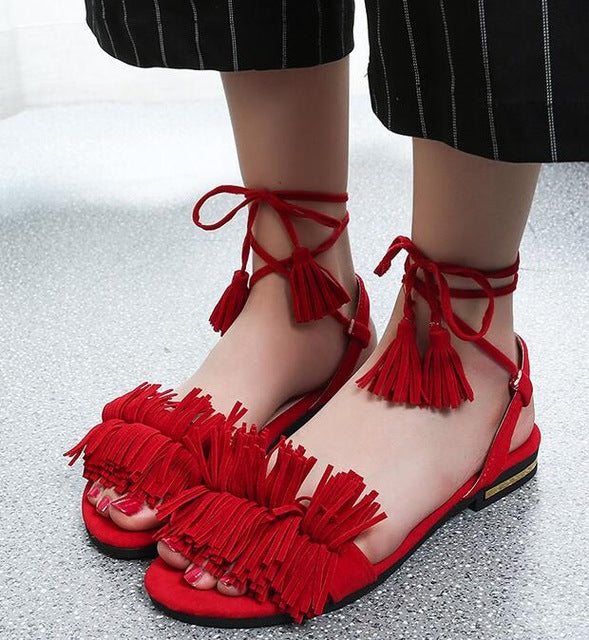 Women's Boho Tassel Wedge Gladiator Ankle Wrap Sandals Roman Tie Fringe Kitten Heel Open Toe Shoes Red Black Green Free Shipping - Fashion-beach.com