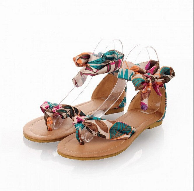 Women's Beautiful Tropical Silk Scarf Ankle Wrap Sandals - Fashion-Beach.com