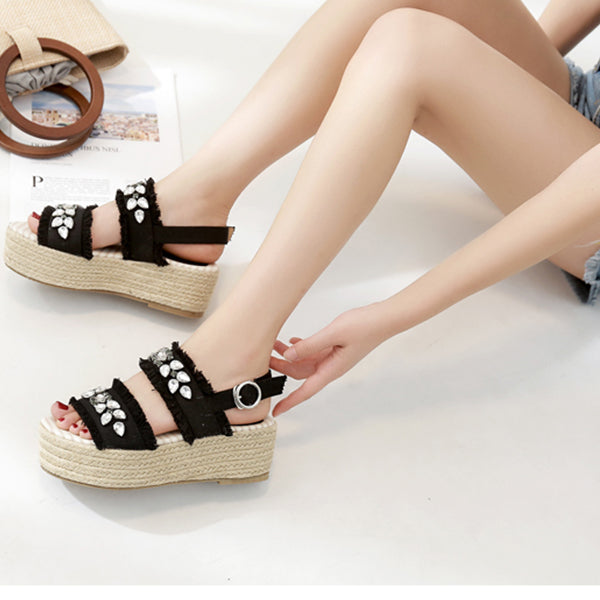Women's Beautiful Rhinestone Boho Espadrille Sandals - Fashion-Beach.com