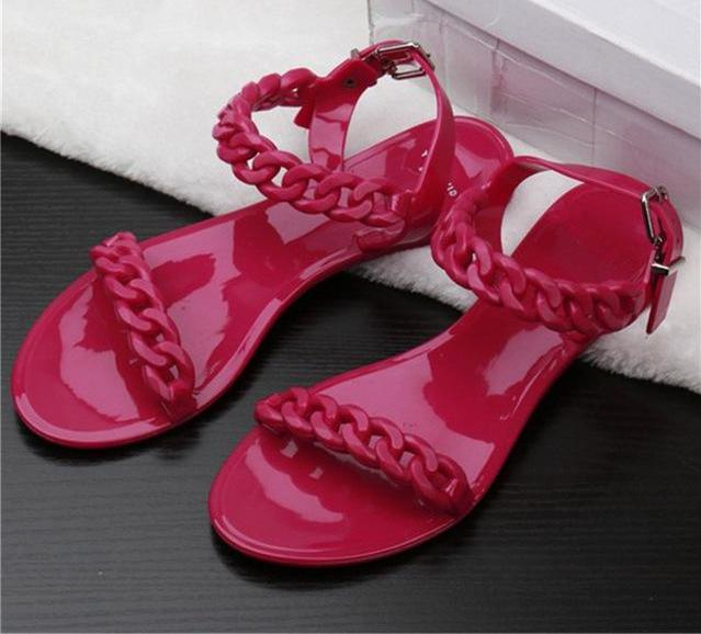Women's Nautical Flat Chain Link Jelly Sandals