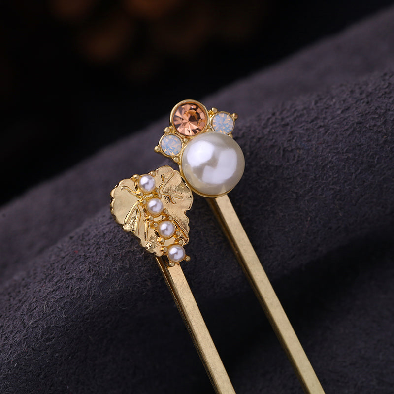 NEW Women's Beautiful 6 pc. Rhinestone Bobby Pin Hair Jewelry Set Gold Pearl Embellished Vintage Inspired Crystal Clasps - FREE Shipping - Fashion-Beach.com