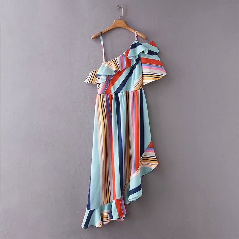 Women's Fun Summer Striped Off The Shoulder Dress - Fashion-Beach.com