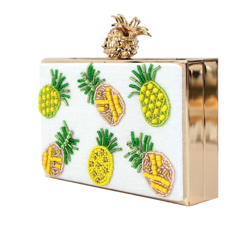 SALE Women's Beautiful Hawaiian Pineapple Clutch Box Purse Beaded Tropical Crystal White Yellow Nautical Handbag Tote  - FREE Shipping - Fashion-Beach.com