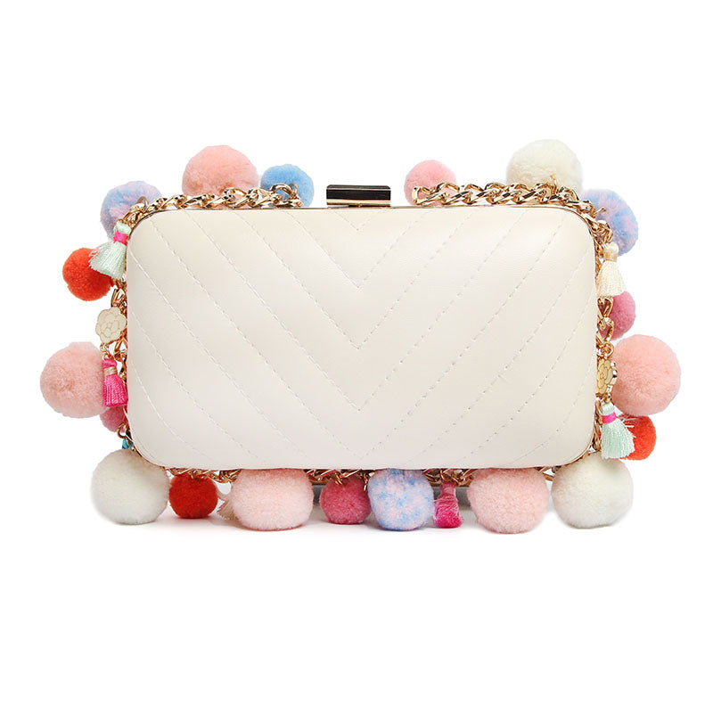 SALE Women's Tropical Boho Tassel Clutch White or Black Pompom Charm Fringe Dress Purse Box Bohemian Hippie Handheld Tribal Bag - Free Shipping - Fashion-Beach.com