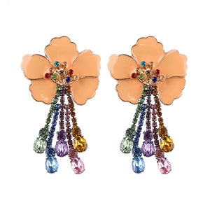 Women's Beautiful Tropical Flower Crystal Drop Earrings - Fashion-Beach.com