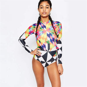 Women's Long Sleeve Zip Up Geometric One Piece Swimsuit - Fashion-Beach.com