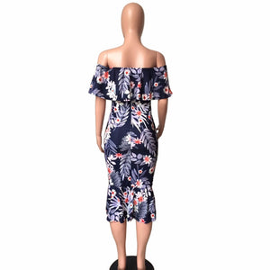 Women's Tropical Off The Shoulders Dress - Fashion-Beach.com