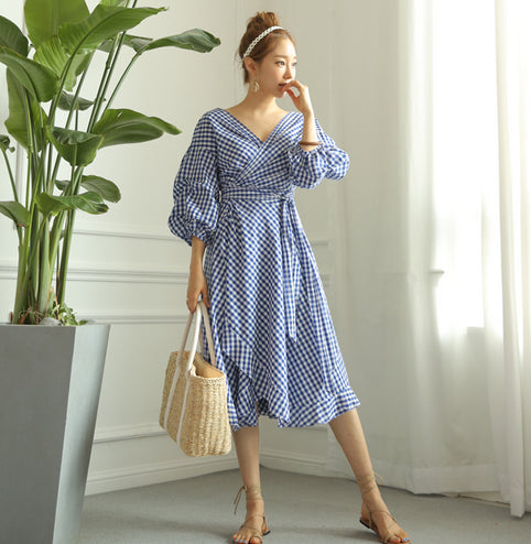 Women's Fun & Beautiful Plaid Wrap Dress - Fashion-Beach.com