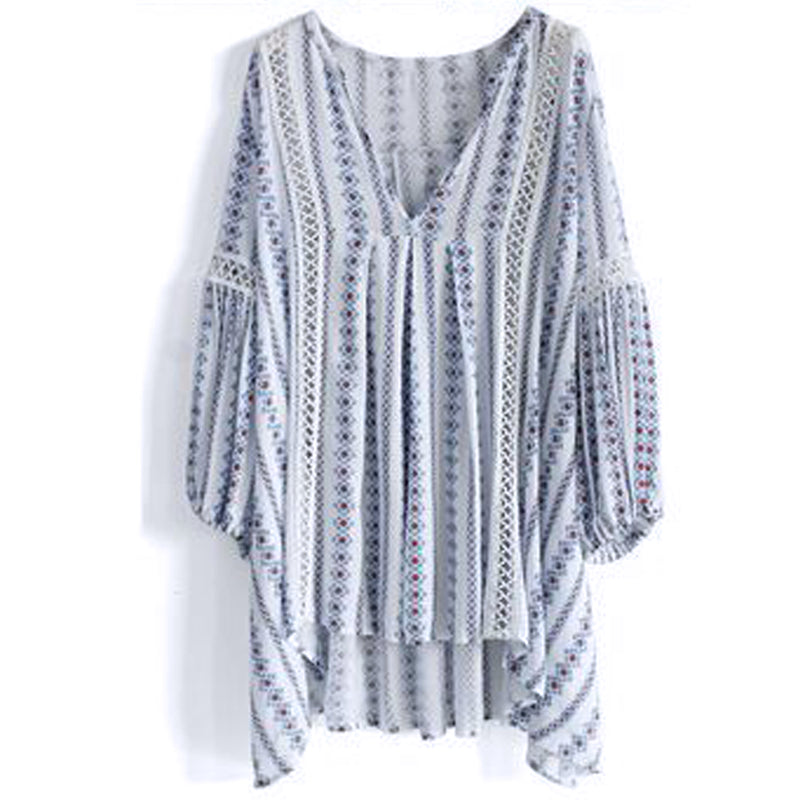 Women's Beautiful Striped Boho Kaftan Top - Fashion-Beach.com