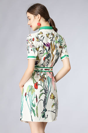 MoaaYina Fashion Designer Runway Dress Summer Women Short sleeve Beaded Floral Print Saahes Casual Holiday Elegant Mini Dress - Fashion-Beach.com