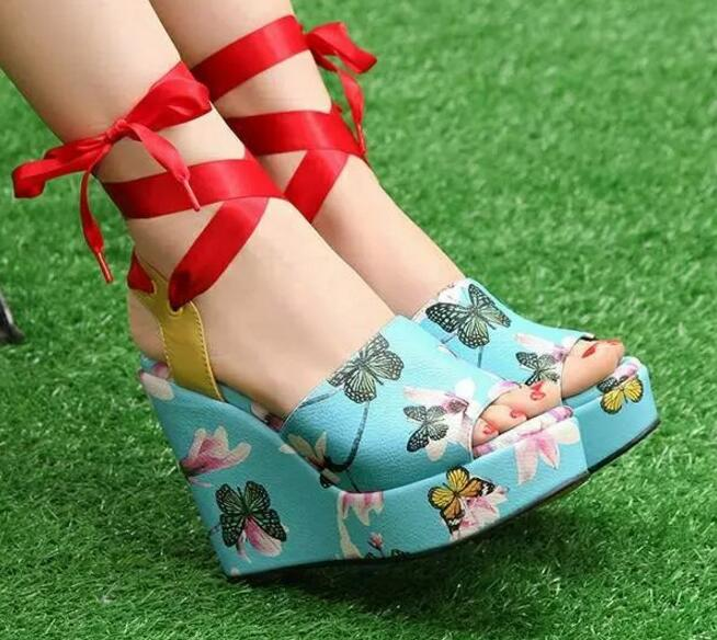 Women's Pretty Flower or Ice Cream Wedge Ankle Wrap Sandals - Fashion-Beach.com