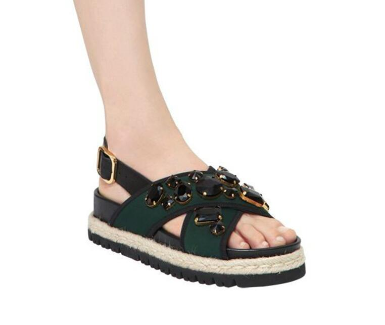 Women's Beautiful Black Rhinestone Espadrille Platform Sandals - Fashion-Beach.com