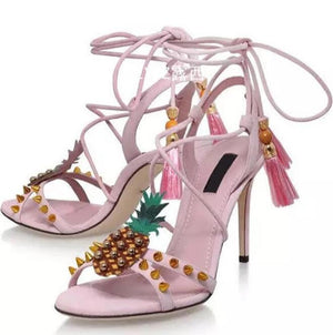 high quality summer woman pink rivet flower straps high heel sandals leather princess pineapple lace up high heel sandals summer - Fashion-Beach.com
