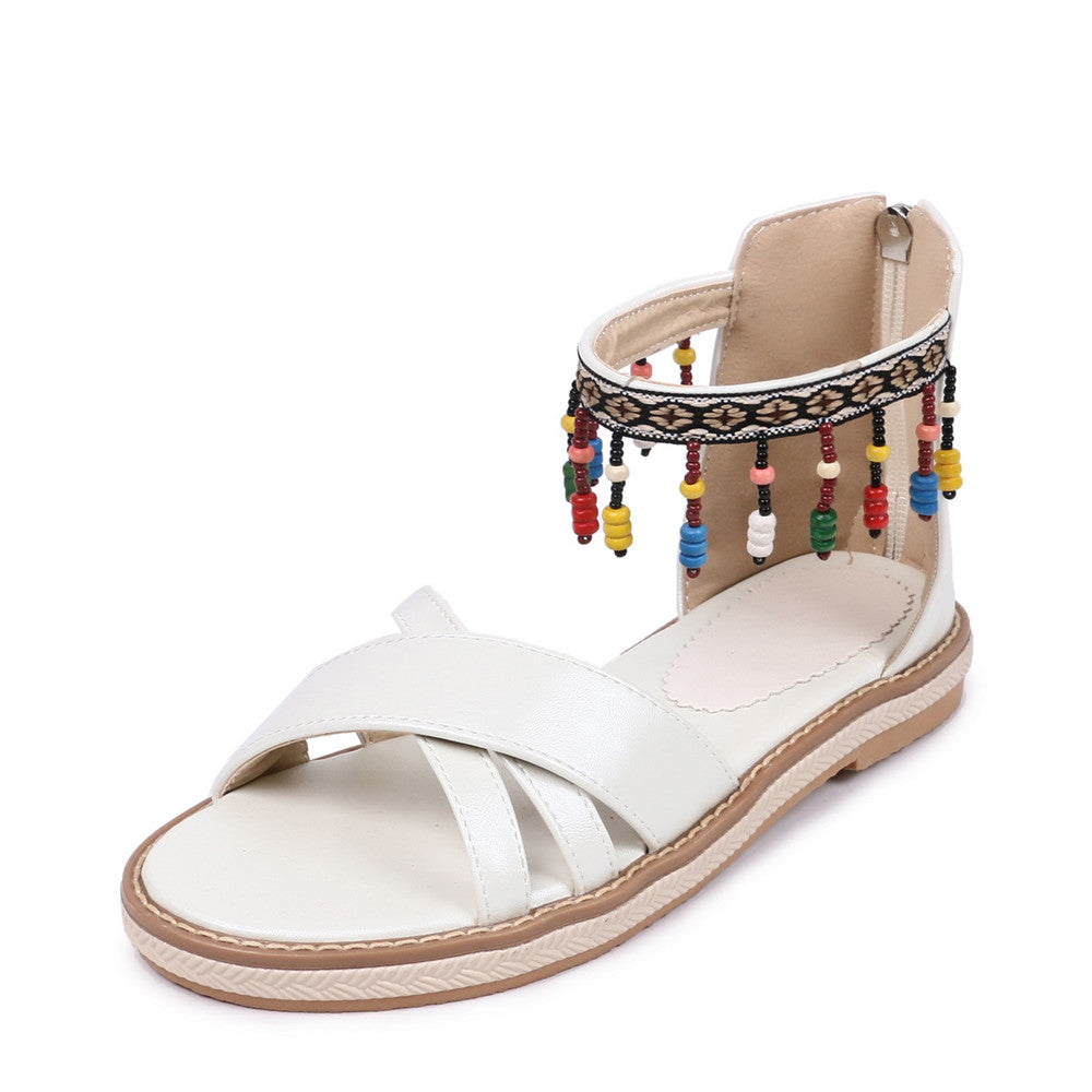 SALE Women's Beaded Tassel Boho Charm Sandals Open Toe Flat Tribal Gladiator Strappy Pink Blue or White Sandals - FREE Shipping - Fashion-Beach.com