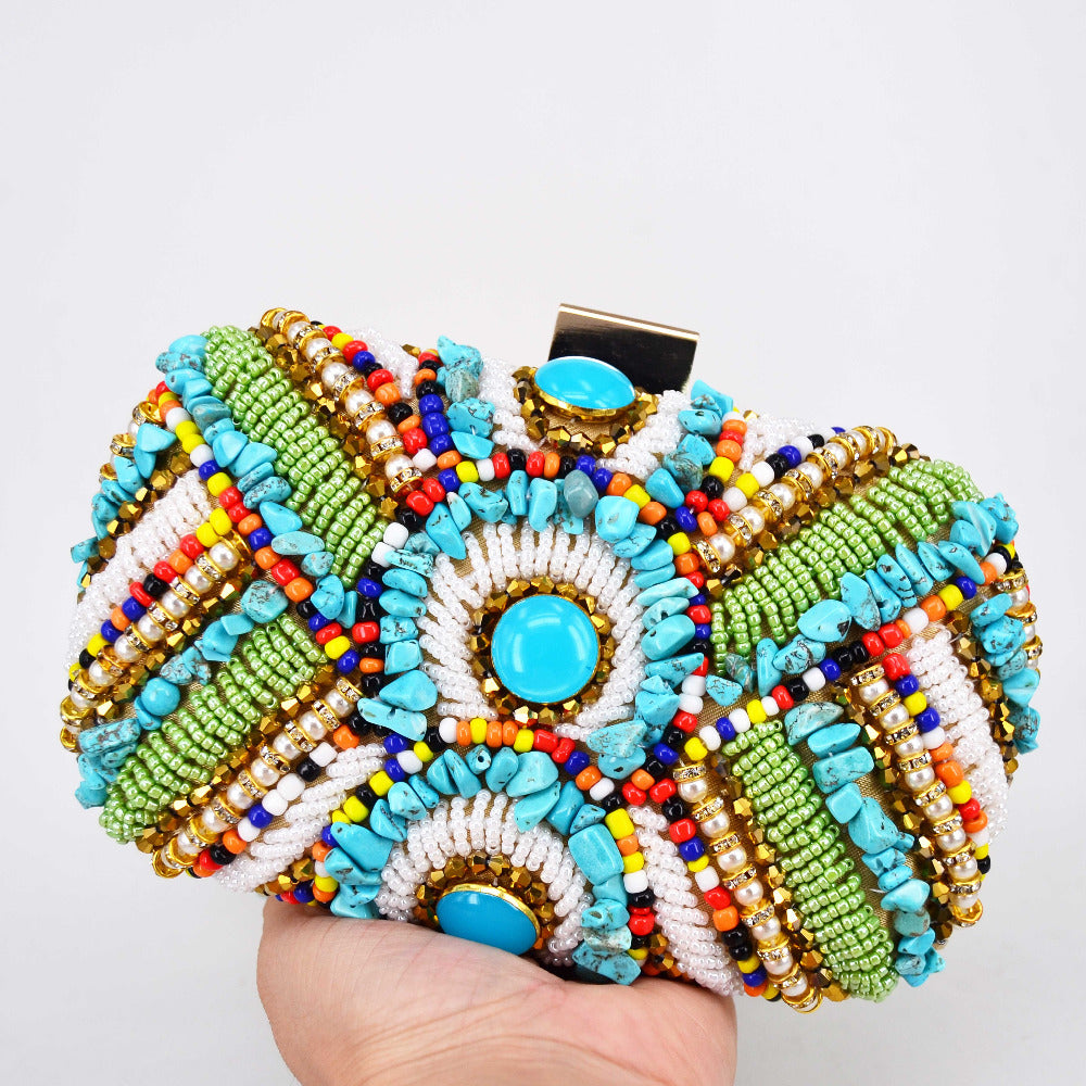 SALE Women's Boho Chic Beaded Tribal Clutch Purse - Aztec Bohemian Green White Turquoise Beaded Shoulder Bag - Embellished Party Fashion - FREE Shipping - Fashion-Beach.com