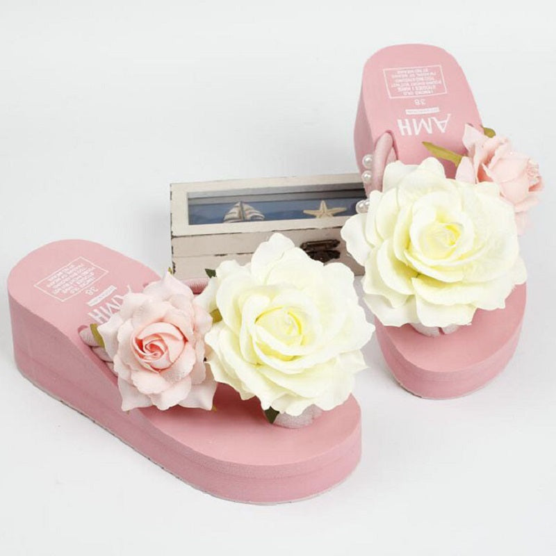 Women's Beautiful Pink Wedge Rose Sandals - Fashion-Beach.com