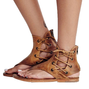 Shoes Female Women Sandals Pinch Flat-Bottomed Roman Sandals Strappy Ankle Flat Straps Shoe Fisherman Beach Shoes zapatos A4 - Fashion-Beach.com
