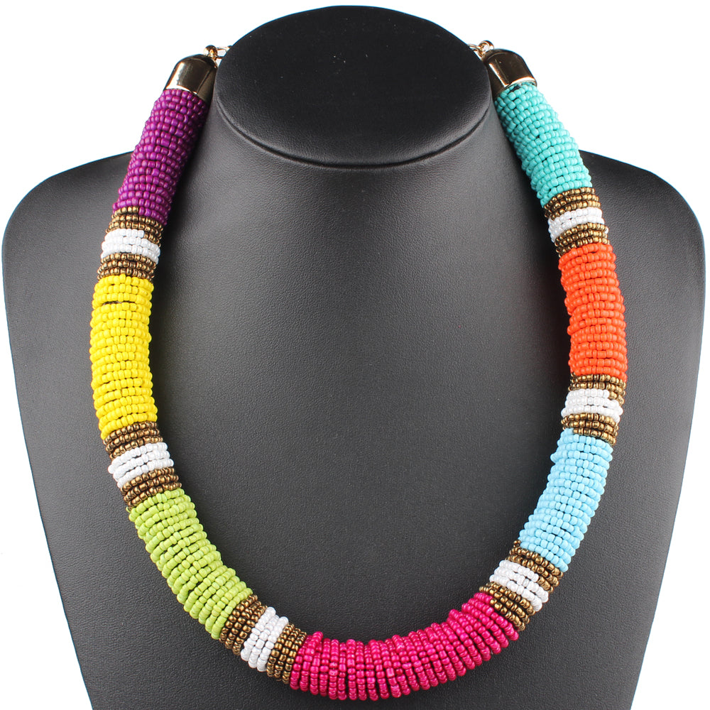 Women's Beautiful Tribal Boho Beaded Choker Necklace - Fashion-Beach.com