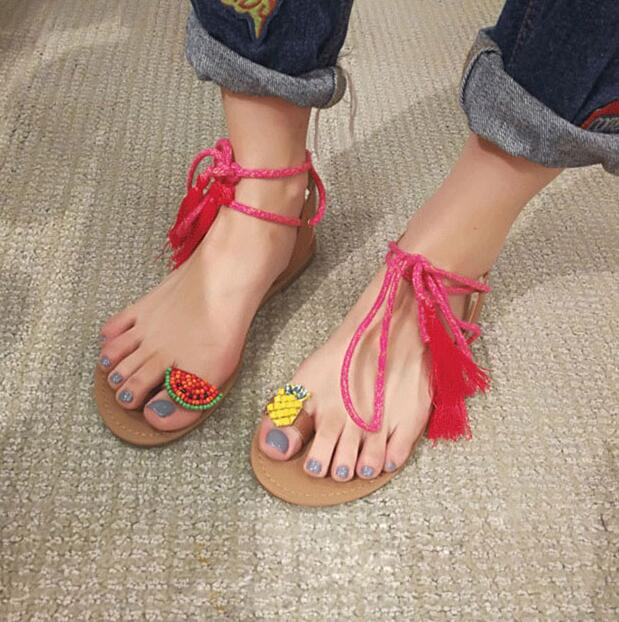 2018 Summer New Fashion Beading Pineapple Women Fashion Sandal Concise Style Lace Up Bohemia Style Flat Sandals Cute Beach Shoes - Fashion-Beach.com