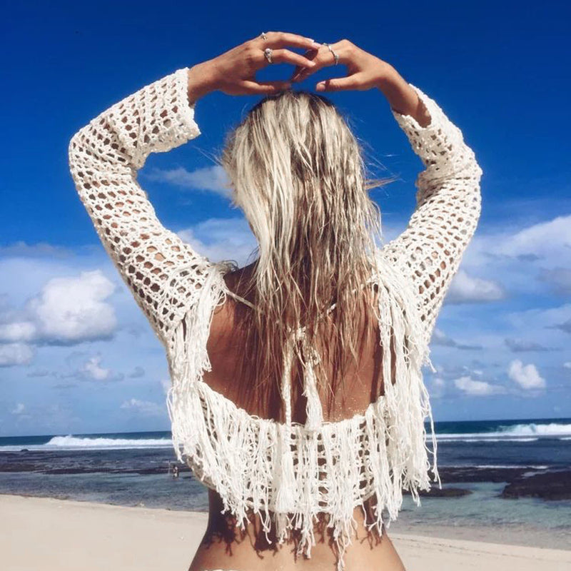 1192f9ceaaecdd SALE Women s Boho Knitted Crochet Tassel Crop Top Cover Up Sheer Bohemian  Fringe Swimsuit Cover Belly