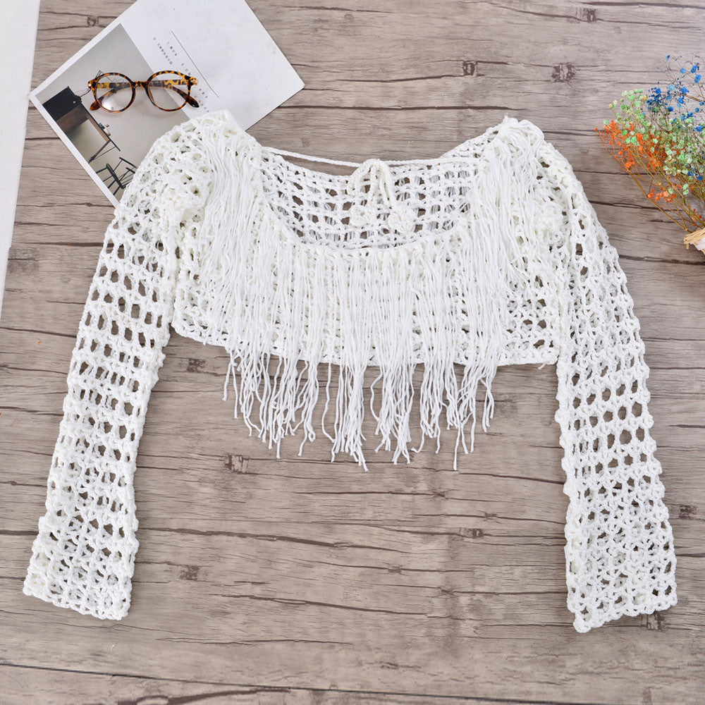 SALE Women's Boho Knitted Crochet Tassel Crop Top Cover Up Sheer Bohemian Fringe Swimsuit Cover Belly Knitted Lace Mini Blouse - FREE Shipping - Fashion-Beach.com