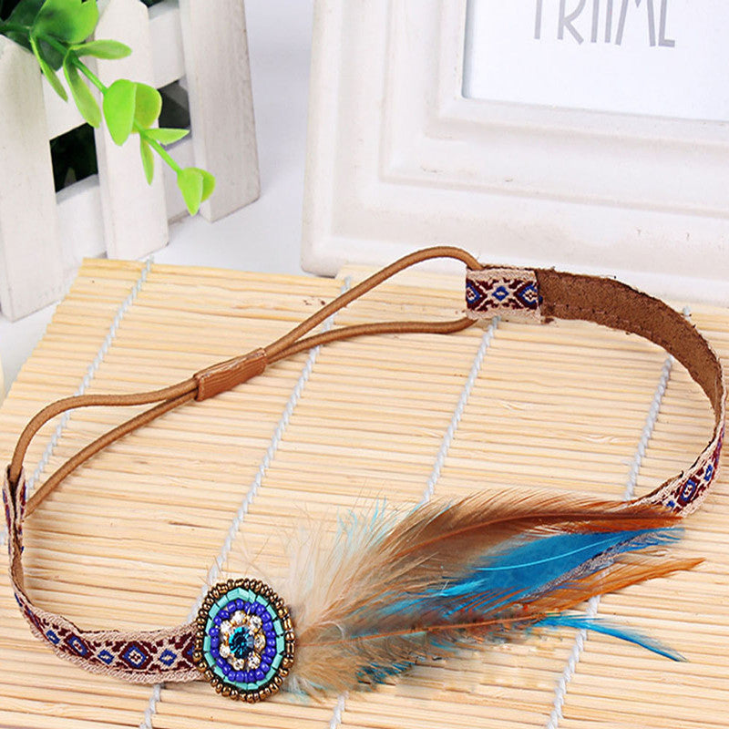 Women's Boho Tribal Beaded Feather Headband - Fashion-Beach.com