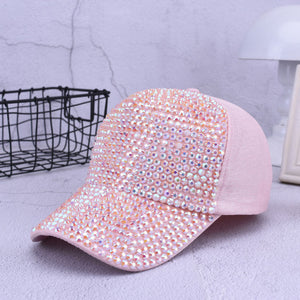 Ymsaid High Quality Women's Brand Baseball Cap New Fashion Rhinestone Crystal Denim Snapback Caps Woman Hip Hop Snapbacks Hats - Fashion-Beach.com