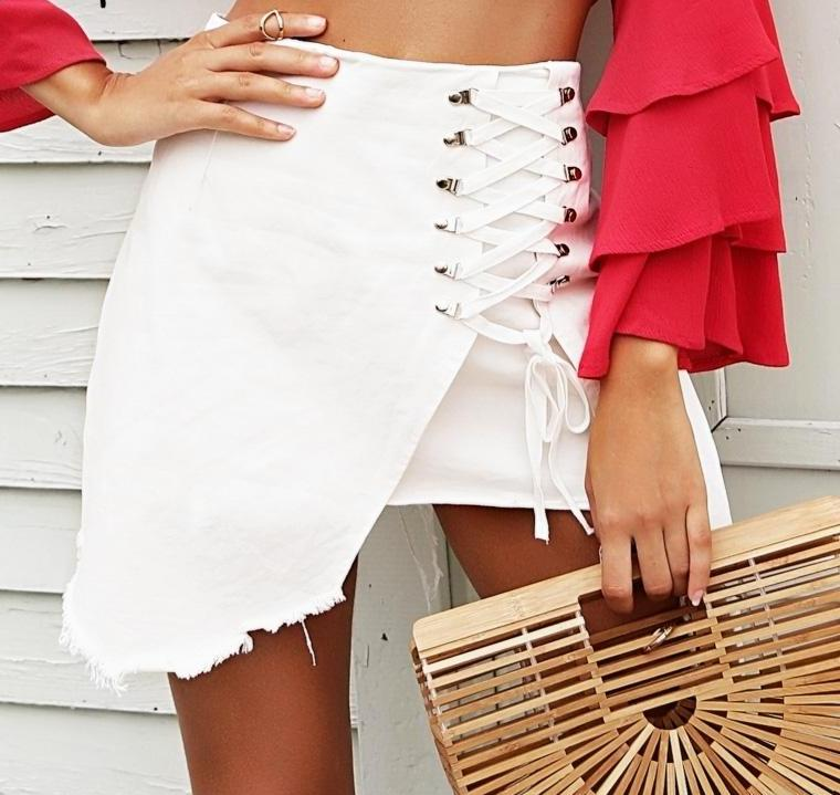 SALE Women's Tropical High Low Tassel Corset Mini Skirt - Lace Up Front Short White Pink or Black Fringed Skirt - FREE Shipping - Fashion-Beach.com